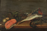 nature morte aux poissons et artichauts (in 2 parts) by frans ykens