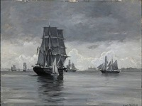 seascape with numerous sailing ships off kronborg by carl ludvig thilson locher