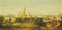 fishermen on the banks of a river estuary, with rowing and sailing boats beyond by arent (cabel) arentsz