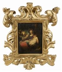 la sainte famille servie par les anges by bartolomeo biscaino