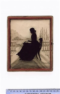 a lady, seated, profile to the left, with open book and magnifying glass, balustrade and landscape background by amalia c. sables
