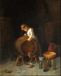 jeune fille testant un tonneau de vin by torello ancillotti