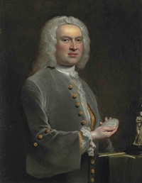 portrait of a sculptor, half-length, in a grey coat with gold buttons and a lace shirt, holding a medallion, beside a table with sculptor's tools and a small copy of the venus de medici by joseph highmore