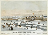 new york ice company, cutting ice at athens (after john w. hill) by endicott & co. (printers)