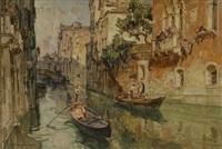 venezia, gondole nel canale by angelo brombo