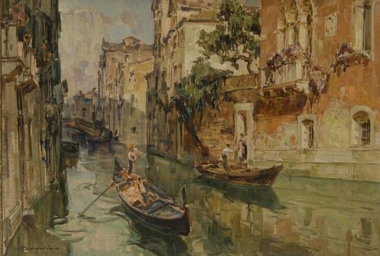 venezia gondole nel canale by angelo brombo