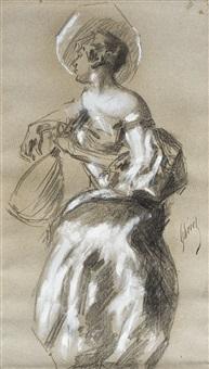 femme à la mandoline by jules chéret
