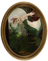 dama upinająca włosy przed lustrem by heinrich rauchinger