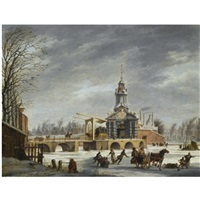 skaters near the haarlemmer poort, amsterdam by johannes (jan) tavenraat