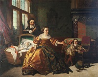 familie in höfischem interieur by casimir van den daele