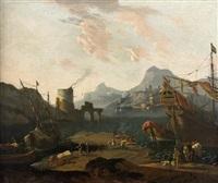 navire turc amarré dans un port méditerranéen by adriaen van der cabel