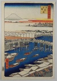série des 100 vues célèbres d'edo. planche 1 - nihonbashi yukibare. le pont nibonbashi, éclaircie après la neige by ando hiroshige