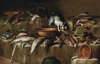 natura morta di pesci con un gatto by bartolomeo arbotori