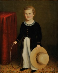 portrait of a young boy with his hoop and hat by joseph whiting stock