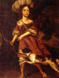 portrait of a young lady as diana the huntress, in a red dress, a bow in her right hand and a hound by her side by charles d' agar