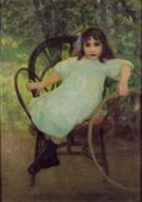 petite fille au cerceau by juan (jean) sala gabriel