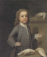 portrait of master harry spark patterson (1725-1764), three-quarter-length, in a grey coat, feeding three doves on a ledge by john theodore heins sr.