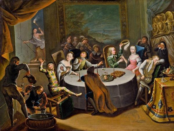 fröhliche gesellschaft in prunkvollem interieur by franz christoph janneck