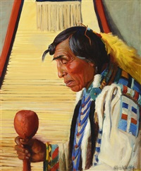 calf tail, blackfeet indian, montana by kathryn woodman leighton