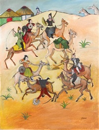 a group of warriors fighting on camels by tassaduq sohail