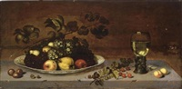 a still life with grapes, apples, a quince and pears on a wan-li porcelain dish, together with medlars, gooseberries, cherries and peaches, all on a stone ledge with a roemer by johannes bouman