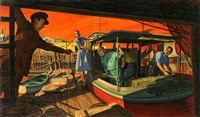angry confrontation in the marina (illus. for or issue of saturday evening post) by paul rabut