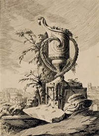 vase monumental dans un paysage by jean laurent legeay