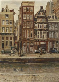 a view of the rokin, amsterdam by erasmus bernhard van dulmen krumpelman