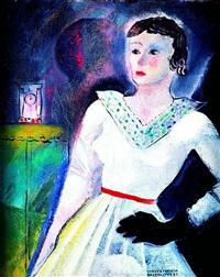 kompozycja magiczna z zegarem i damą w czarnej rękawiczce by janusz maria brzeski