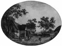 cattle by a pond in a farmyard by charles tomkins