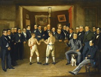 interior scene with boxers and gentlemen onlookers by british school (19)