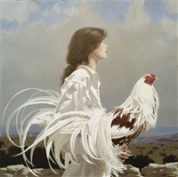 young woman with yokohama cockerel ii by neil rodger
