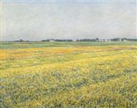 la plaine de gennevilliers, champs jaunes by gustave caillebotte