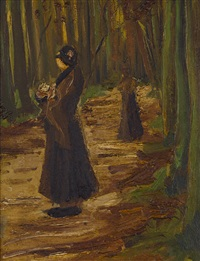 two women in a wood by vincent van gogh