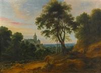 chemin de sous - bois avec un monastère dans la campagne by jacques fouquieres