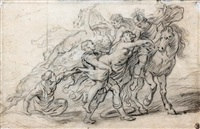 l'enlèvement des sabines et deux satyres derrière un arbre (recto-verso) by abraham van diepenbeeck