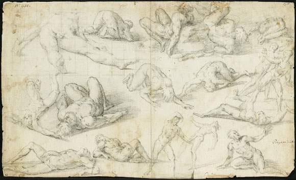 feuille détudes de figures dhomme nu by giovanni battista di matteo naldini