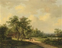 travellers on a country road by marianus adrianus koekkoek