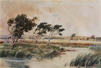windswept scene (possibly guildford area) by james walter robert linton