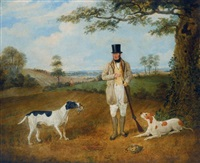 william haslehust with his hounds in a landscape by martin theodore ward