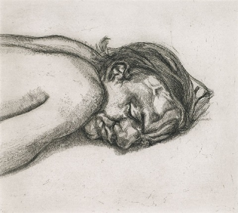 man resting by lucian freud