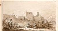 soldats ottomans devant un fort by jean-baptiste hilaire