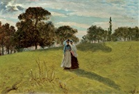 two women in a landscape by william john hennessy