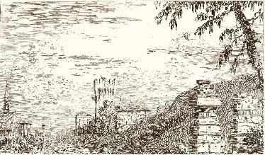 paesaggio con torre e pilastri in rovina by canaletto