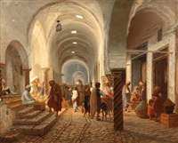 rue animée de la médina à tunis by carl libert august lentz