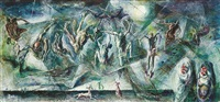 trapping the flying fox, new guinea by william dobell