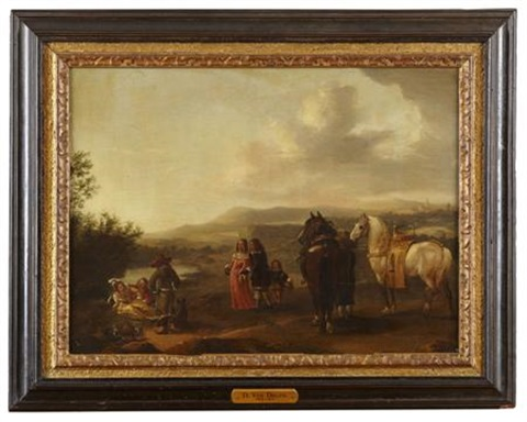 a riding party dismounted by philips wouwerman