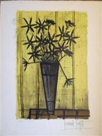 bouquet sur fond jaune by bernard buffet