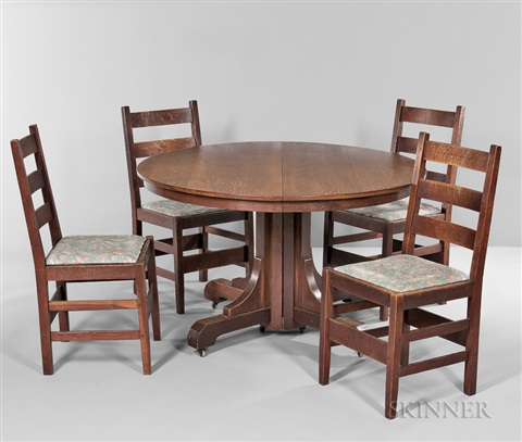 Pleasant Gustav Stickley Dining Table And Five Chairs By Gustav Alphanode Cool Chair Designs And Ideas Alphanodeonline
