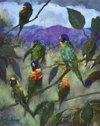 parrots in a queensland landscape by albert lee tucker